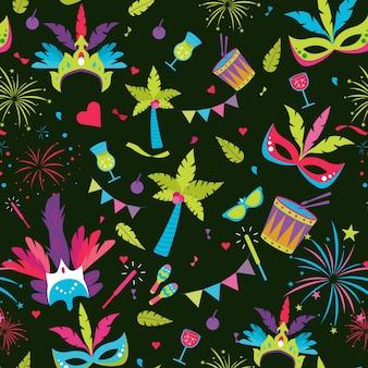 Platte ontwerp braziliaanse carnaval patroon concept