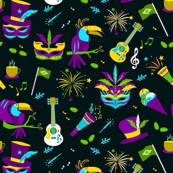 Platte ontwerp braziliaanse carnaval patroon thema