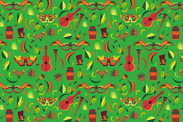 Platte ontwerp braziliaanse carnaval patroon