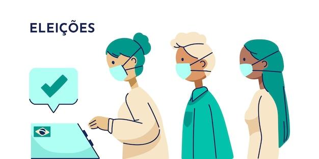 Platte ontwerp braziliaanse mensen stemwachtrij met gezichtsmasker