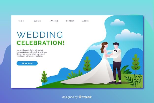 Platte ontwerp bruiloft bestemmingspagina met karakters