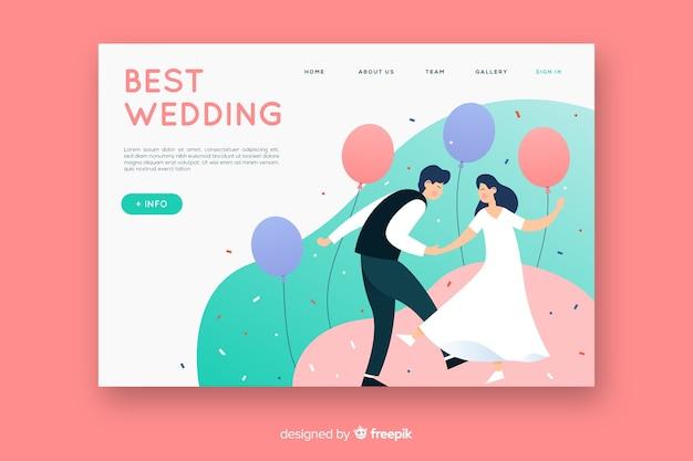 Platte ontwerp bruiloft bestemmingspagina sjabloon