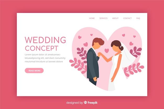 Platte ontwerp bruiloft bestemmingspagina