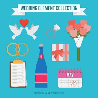 Platte ontwerp bruiloft elementen collectie