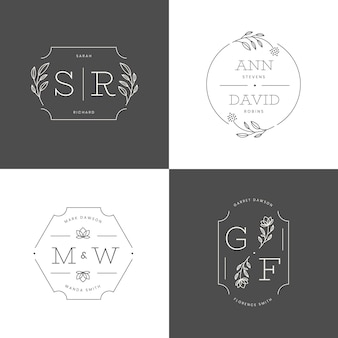 Platte ontwerp bruiloft monogram set