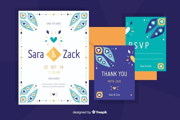 Platte ontwerp bruiloft uitnodiging met schattige elementen
