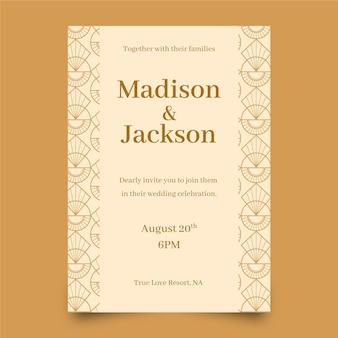 Platte ontwerp bruiloft uitnodiging sjabloon