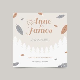 Platte ontwerp bruiloft vierkante flyer