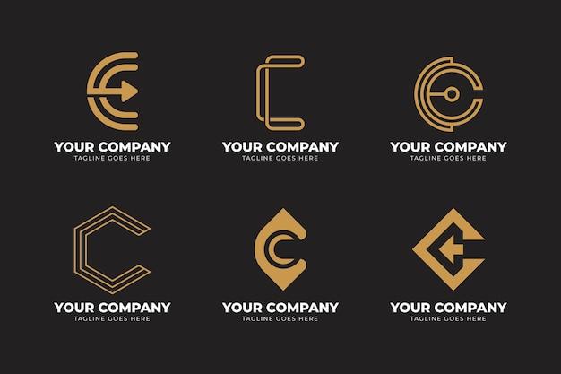 Platte ontwerp c logo sjabloon set