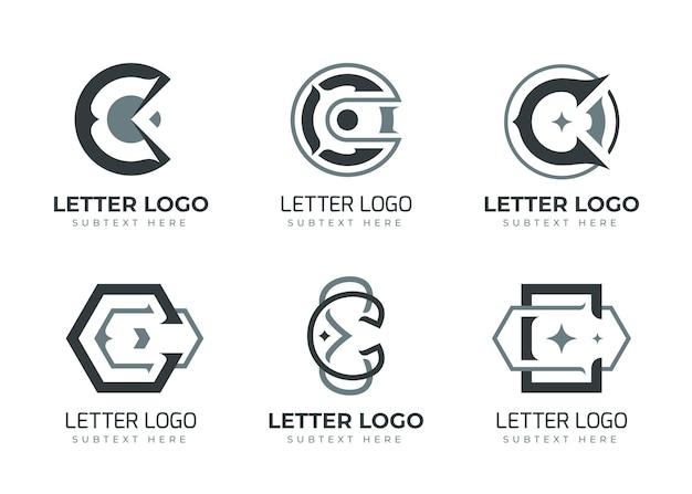 Platte ontwerp c logo sjabloonpakket