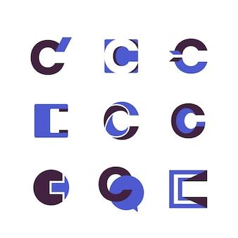 Platte ontwerp c logo template collectie