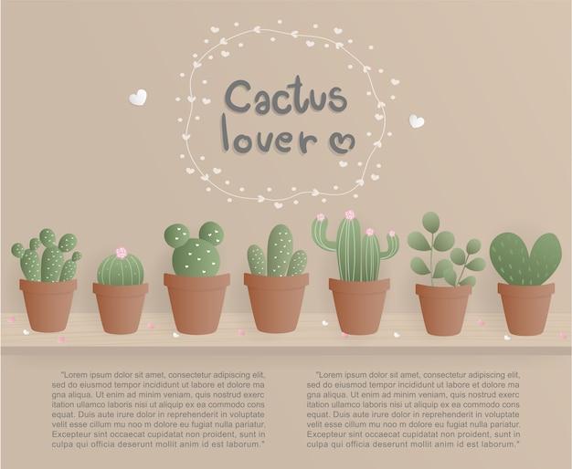 Platte ontwerp cactus liefhebber met ingemaakte cactus