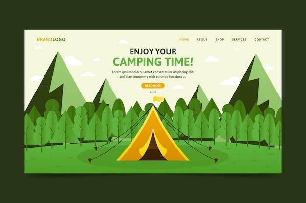 Platte ontwerp camping-bestemmingspagina met tent