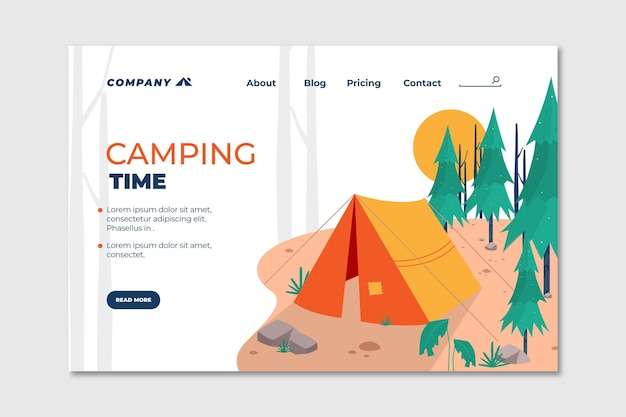 Platte ontwerp camping bestemmingspagina