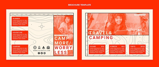 Platte ontwerp camping brochure sjabloon