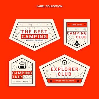 Platte ontwerp camping etiketten sjabloon