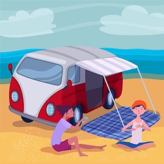 Platte ontwerp camping met een caravan illustratie met karakters