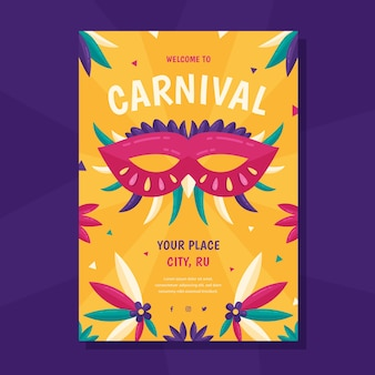 Platte ontwerp carnaval feest flyer