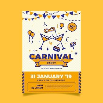 Platte ontwerp carnaval partij poster sjabloon