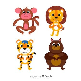 Platte ontwerp cartoon dieren set
