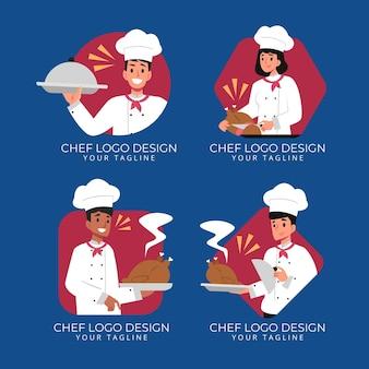 Platte ontwerp chef-kok logo collectie