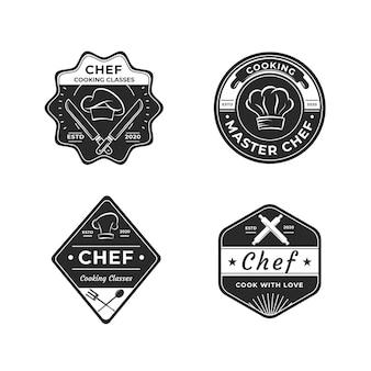 Platte ontwerp chef-kok logo sjabloon