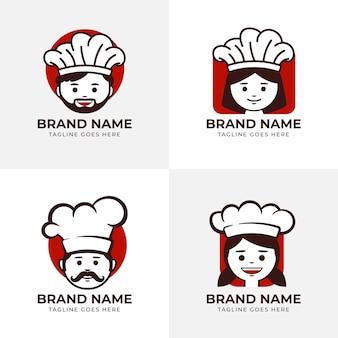 Platte ontwerp chef-kok logo sjabloonpakket