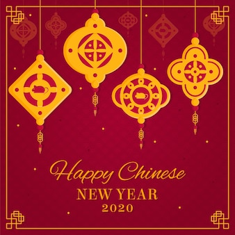 Platte ontwerp chinees nieuwjaar behang