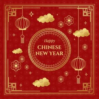 Platte ontwerp chinees nieuwjaar