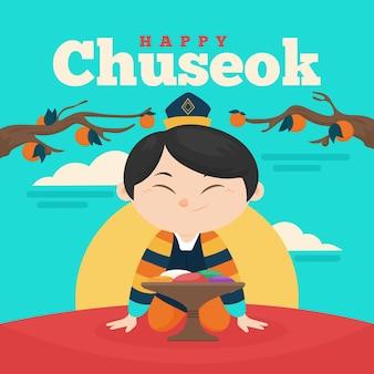 Platte ontwerp chuseok concept