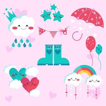 Platte ontwerp chuva de amor elementen collectie