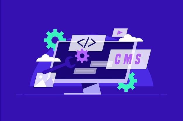 Platte ontwerp cms concept illustratie