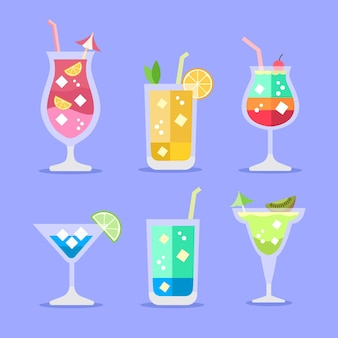 Platte ontwerp cocktail illustratie collectie