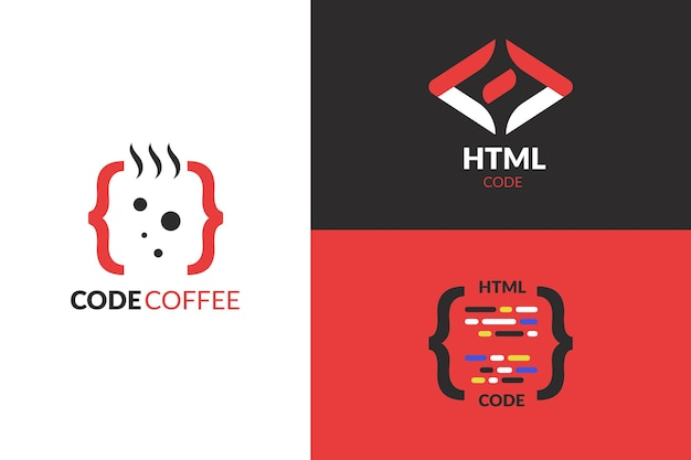 Platte ontwerp code logo collectie