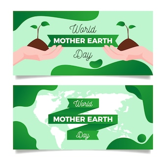 Platte ontwerp collectie moeder aarde dag banner