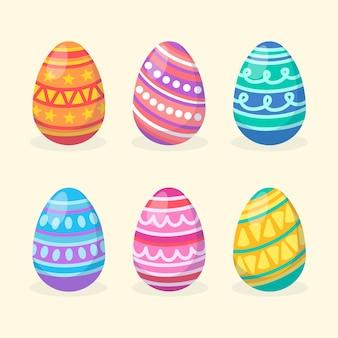 Platte ontwerp collectie paasdag ei