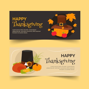 Platte ontwerp collectie thanksgiving banners