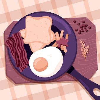 Platte ontwerp comfort eten illustratie met eieren en spek