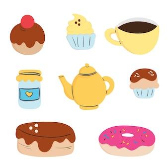 Platte ontwerp comfort voedsel illustratie set