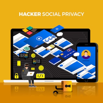 Platte ontwerp concept hacker activiteit cyber dief