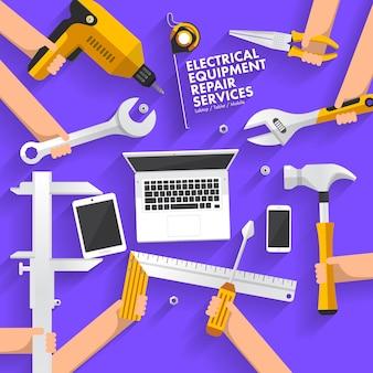 Platte ontwerp concept reparatie computer