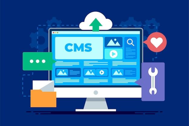 Platte ontwerp content management systeem concept illustratie