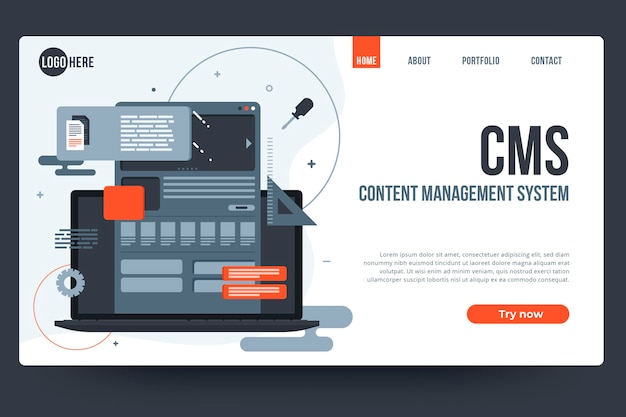 Platte ontwerp content management systeem websjabloon