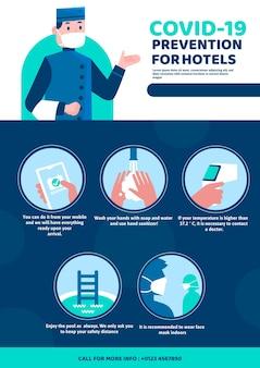 Platte ontwerp coronavirus preventie poster sjabloon voor hotels