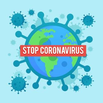 Platte ontwerp coronavirus verspreid illustratie