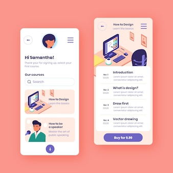 Platte ontwerp cursus app-collectie