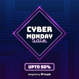 Platte ontwerp cyber maandag achtergrond