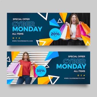 Platte ontwerp cyber maandag banner met vrouw en tassen
