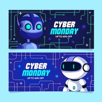 Platte ontwerp cyber maandag banners