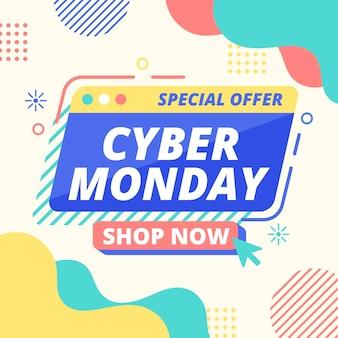 Platte ontwerp cyber maandag concept